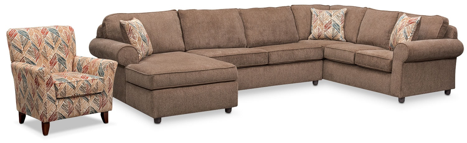 Living Room Furniture - Lakelyn 3-Piece Sectional with Left-Facing Chaise and Accent Chair - Cocoa