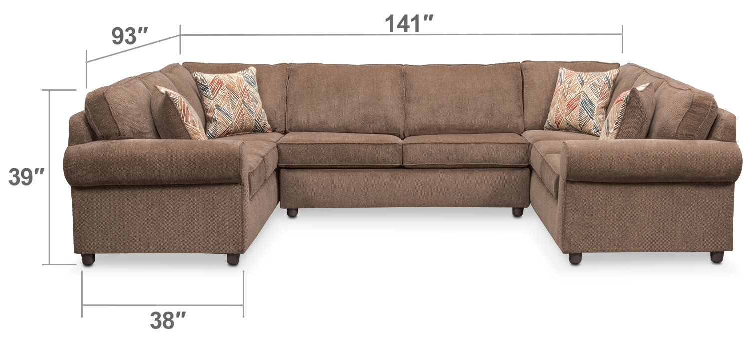Living Room Furniture - Lakelyn 3-Piece Innerspring Sleeper Sectional - Cocoa