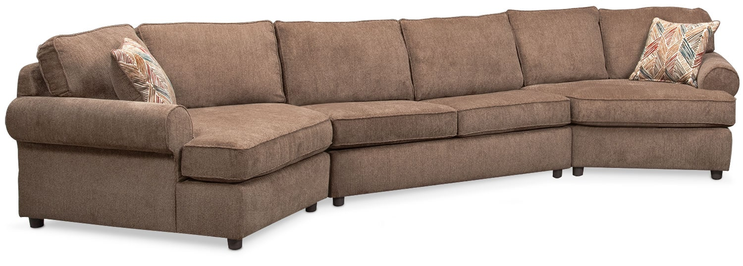 Living Room Furniture - Lakelyn 3-Piece Innerspring Sleeper Sectional with 2 Cuddlers - Cocoa