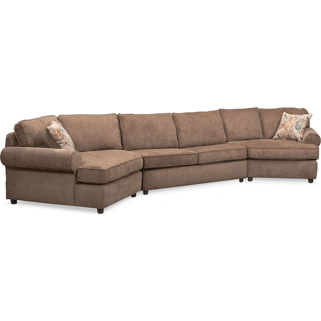 Living Room Furniture - Lakelyn 3-Piece Section with 2 Cuddlers - Cocoa