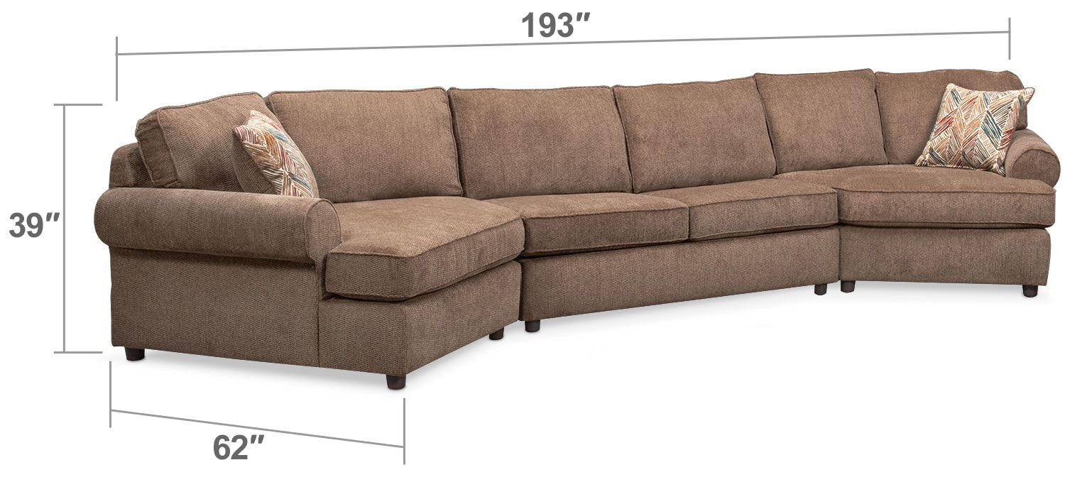 Living Room Furniture - Lakelyn 3-Piece Memory Foam Sleeper Sectional with 2 Cuddlers - Cocoa
