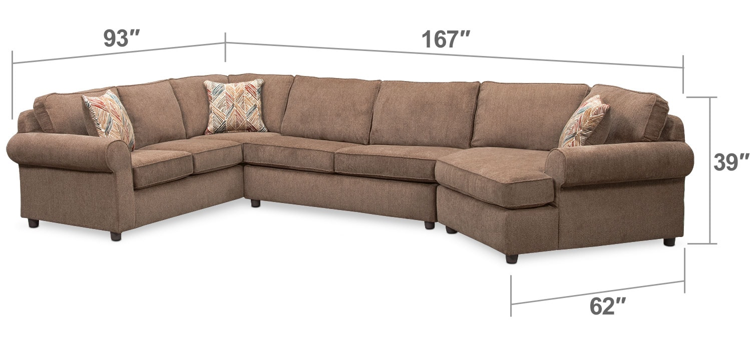 Living Room Furniture - Lakelyn 3-Piece Innerspring Sleeper Sectional with Right-Facing Cuddler - Cocoa