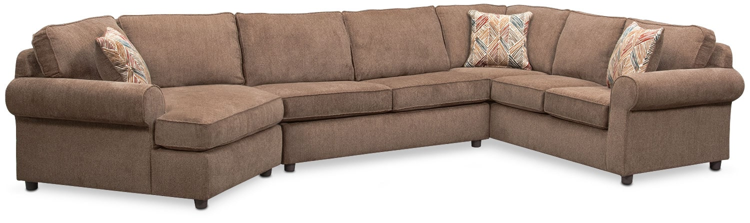 Living Room Furniture - Lakelyn 3-Piece Sectional with Left-Facing Cuddler - Cocoa