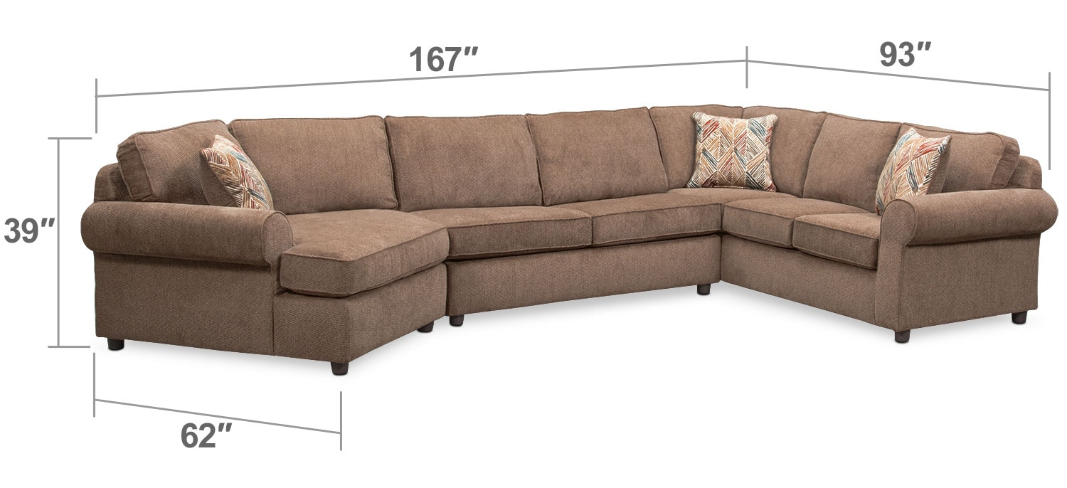 Living Room Furniture - Lakelyn 3-Piece Innerspring Sleeper Sectional with Left-Facing Cuddler - Cocoa