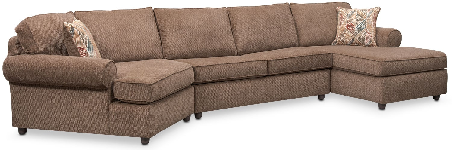 Living Room Furniture - Lakelyn 3-Piece Innerspring Sleeper Sectional with Left-Facing Cuddler and Right-Facing Chaise-Cocoa