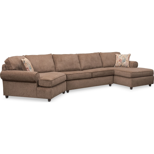 Living Room Furniture - Lakelyn 3-Piece Sectional with Left-Facing Cuddler and Right-Facing Chaise - Cocoa