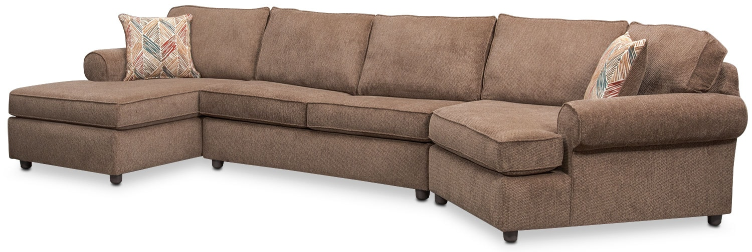 Lakelyn 3-Piece Memory Foam Sleeper Sectional w/ Left-Facing Chaise and Right-Facing Cuddler - Cocoa