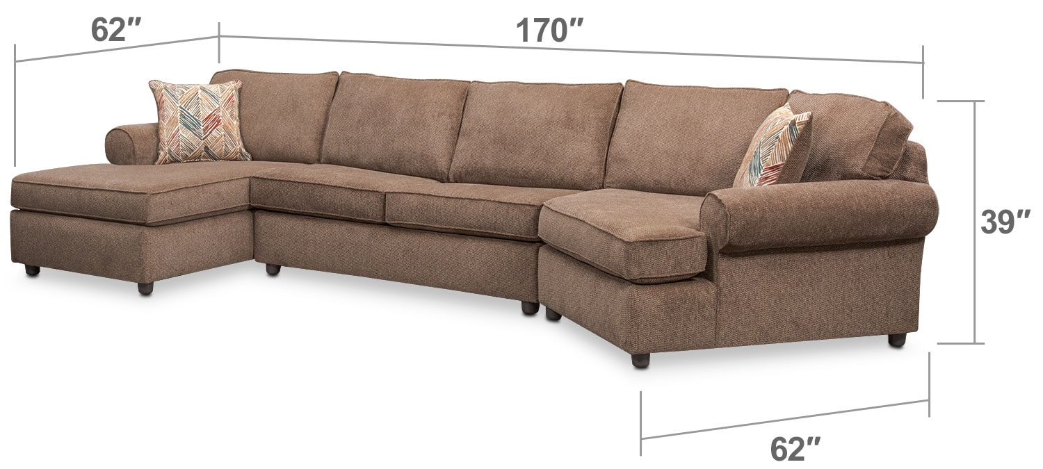 Living Room Furniture - Lakelyn 3-Piece Sectional with Left-Facing Chaise and Right-Facing Cuddler - Cocoa