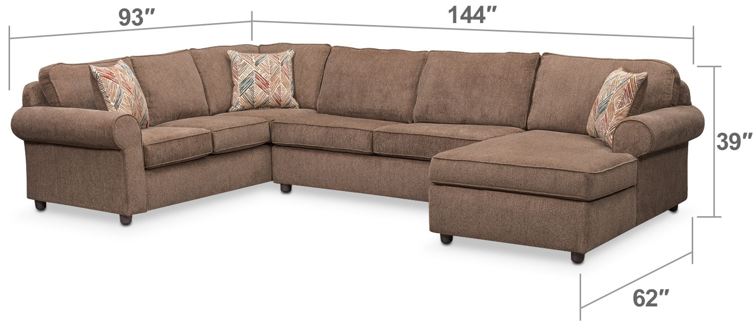 Living Room Furniture - Lakelyn 3-Piece Sectional with Right-Facing Chaise - Cocoa