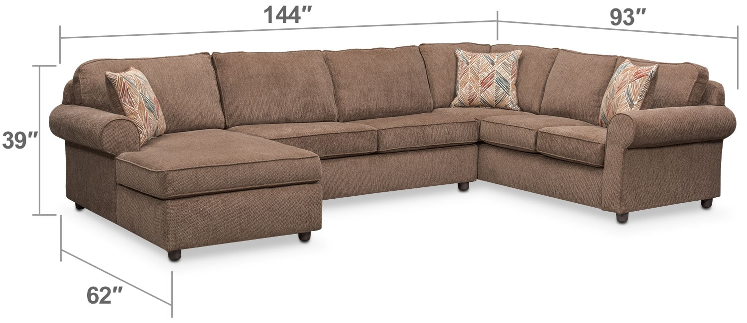 Living Room Furniture - Lakelyn 3-Piece Sectional with Left-Facing Chaise - Cocoa