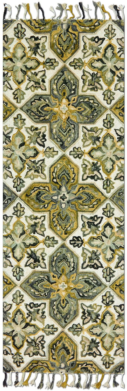 Rugs - Brushstroke 3' x 8' Rug - Ivory and Emerald