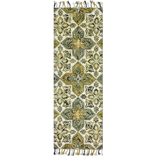 Brushstroke 3' x 8' Rug - Ivory and Emerald