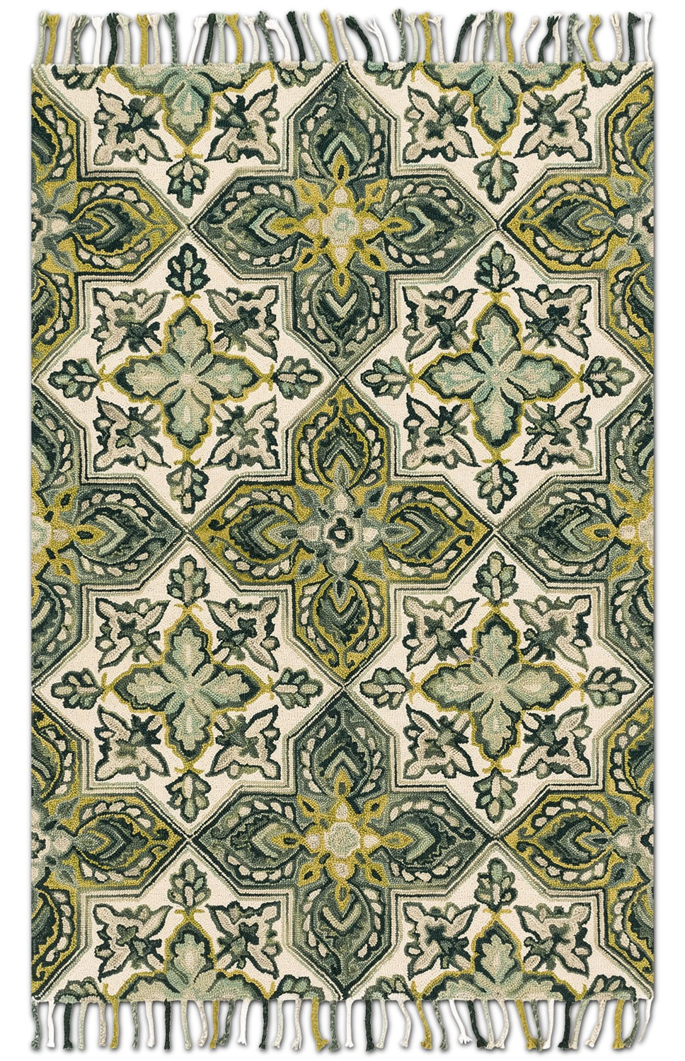 Rugs - Brushstroke 5' x 8' Rug - Ivory and Emerald