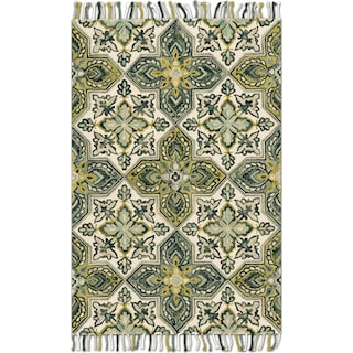Brushstroke 9' x 13' Rug - Ivory and Emerald