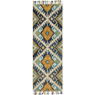 Brushstroke 3' x 8' Rug - Ivory and Marine