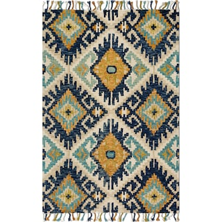 Brushstroke 4' x 6' Rug - Ivory and Marine