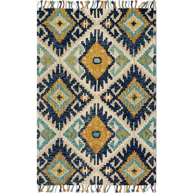Rugs - Brushstroke 9' x 13' Rug - Ivory and Marine