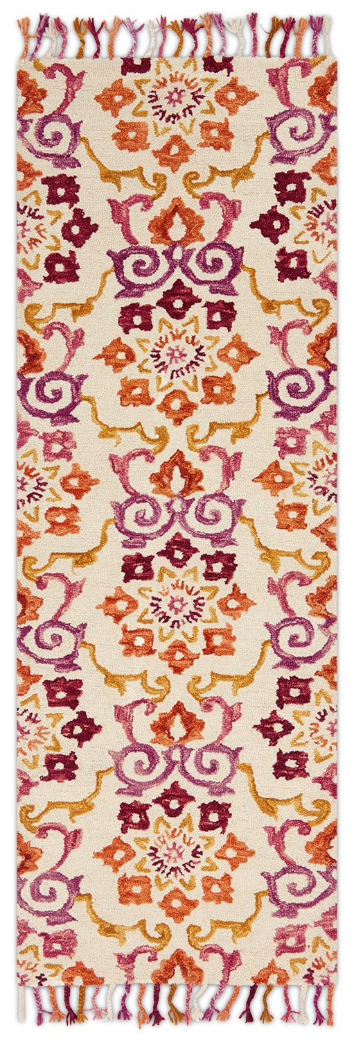 Brushstroke 3' x 8' Rug - Ivory and Berry