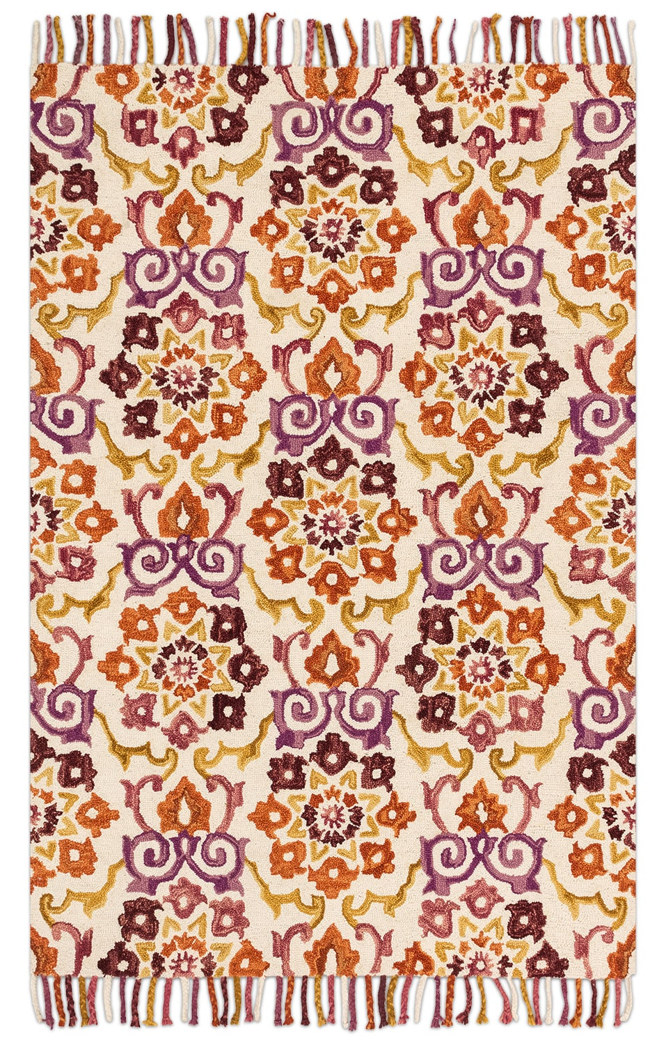Brushstroke 4' x 6' Rug - Ivory and Berry
