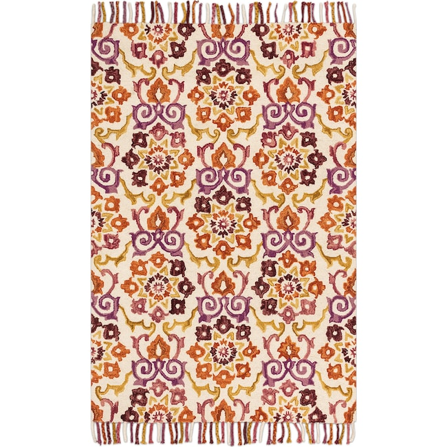 Rugs - Brushstroke 5' x 8' Rug - Ivory and Berry