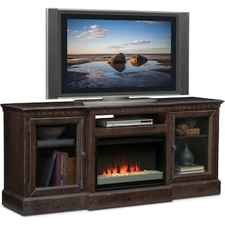 "Claridge 74"" Contemporary Fireplace Media Stand - Tobacco"