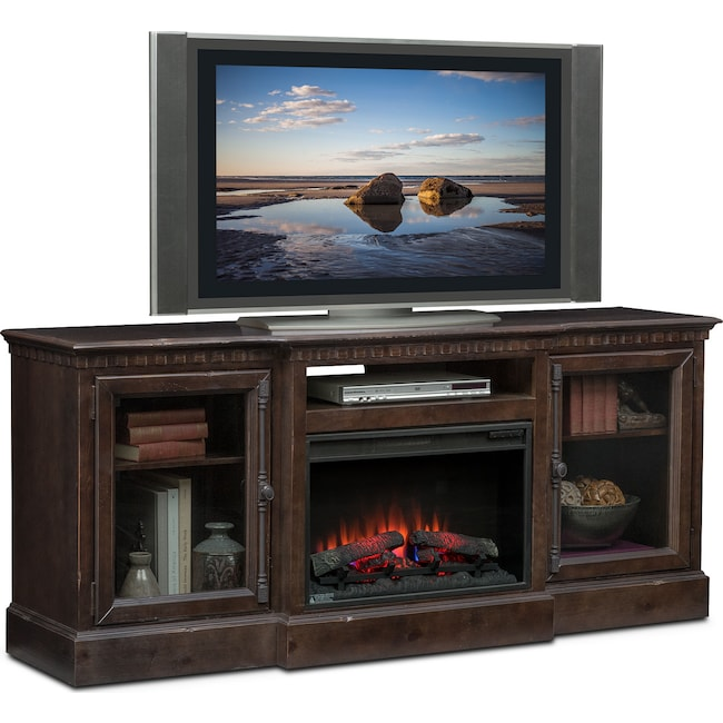 "Entertainment Furniture - Claridge 74"" Traditional Fireplace Media Stand - Tobacco"