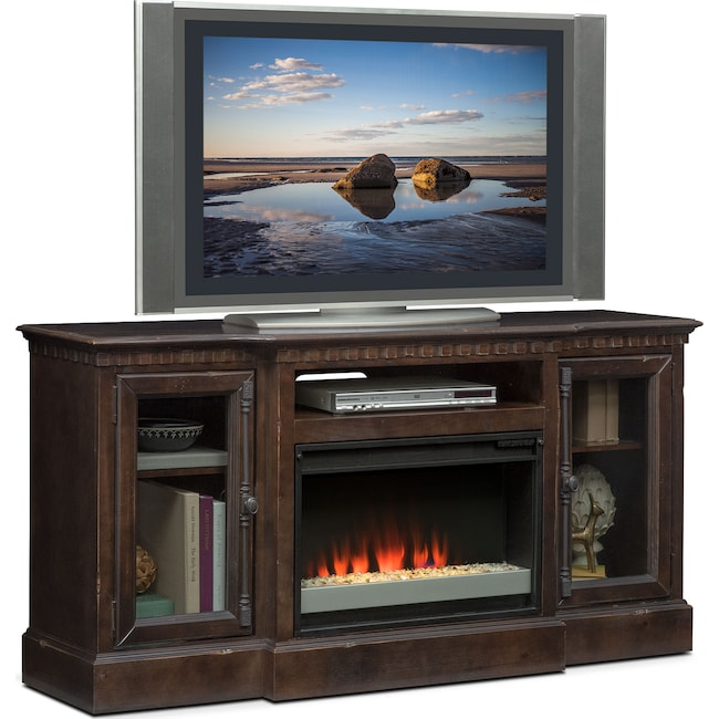 "Entertainment Furniture - Claridge 64"" Contemporary Fireplace Media Stand - Tobacco"