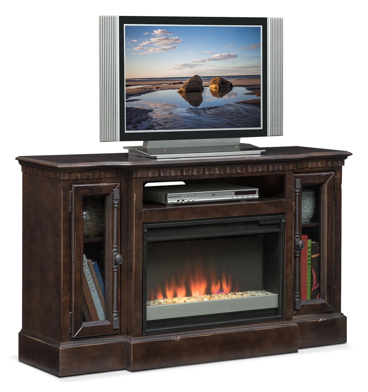 "Entertainment Furniture - Claridge 54"" Contemporary Fireplace Media Stand - Tobacco"
