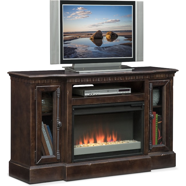 "Entertainment Furniture - Claridge 54"" Contemporary Fireplace Media Stand - Tobacco"
