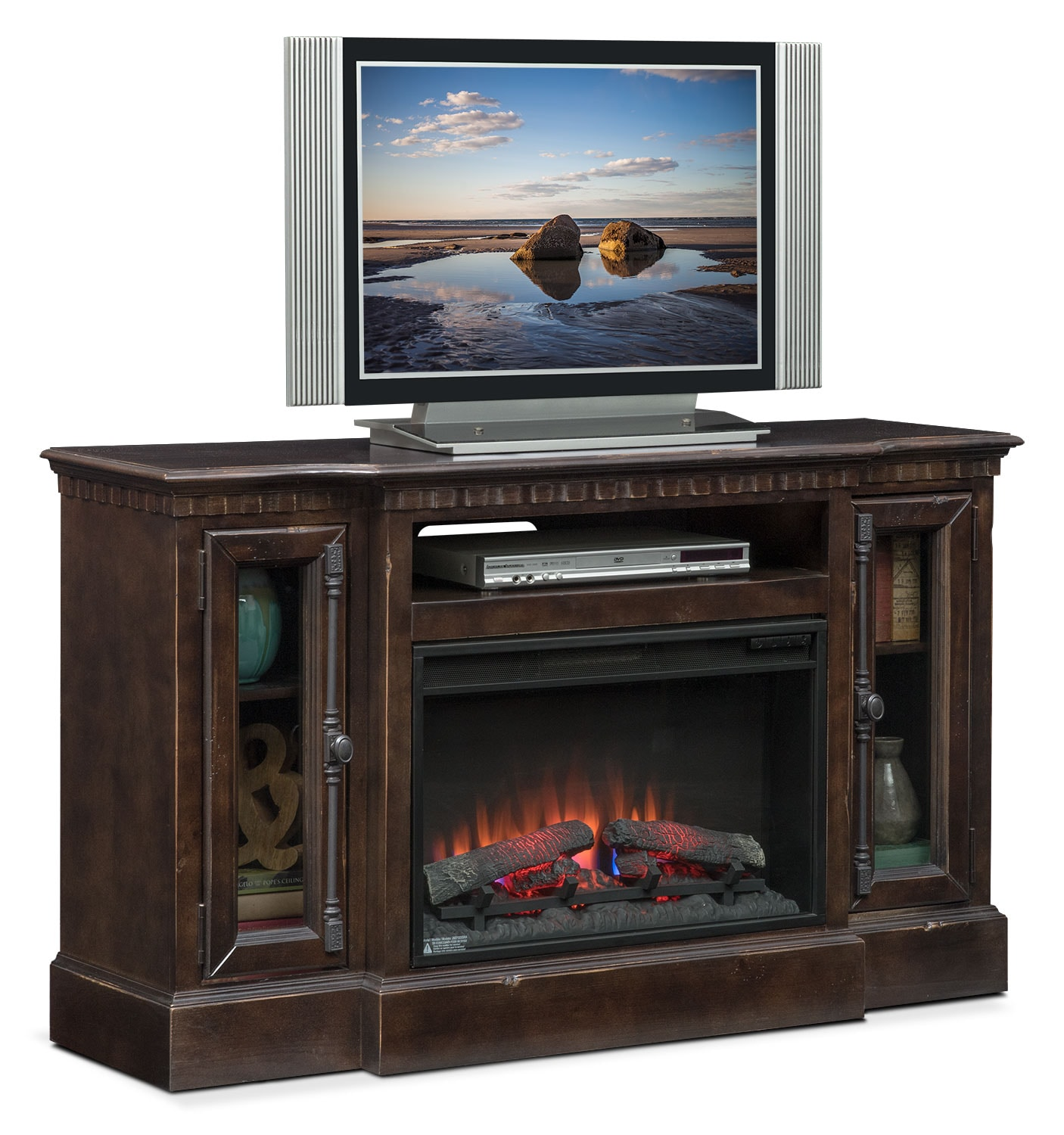 "Claridge 54"" Traditional Fireplace Media Stand - Tobacco"