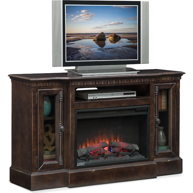 """Entertainment Furniture - Claridge 54"""" Traditional Fireplace Media Stand - Tobacco"""