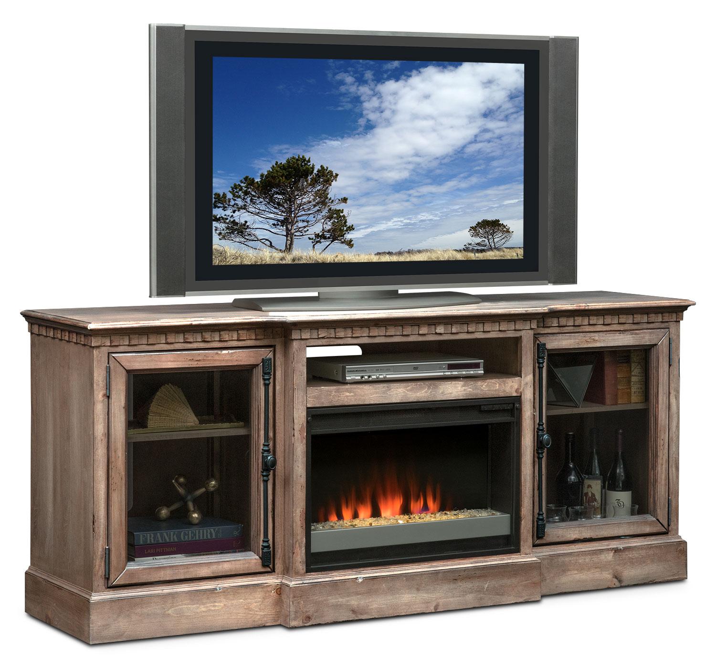 "Entertainment Furniture - Claridge 74"" Contemporary Fireplace Media Stand - Gray"