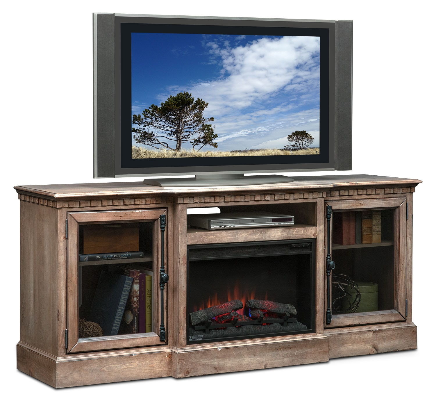 """Entertainment Furniture - Claridge 74"""" Traditional Fireplace Media Stand - Gray"""
