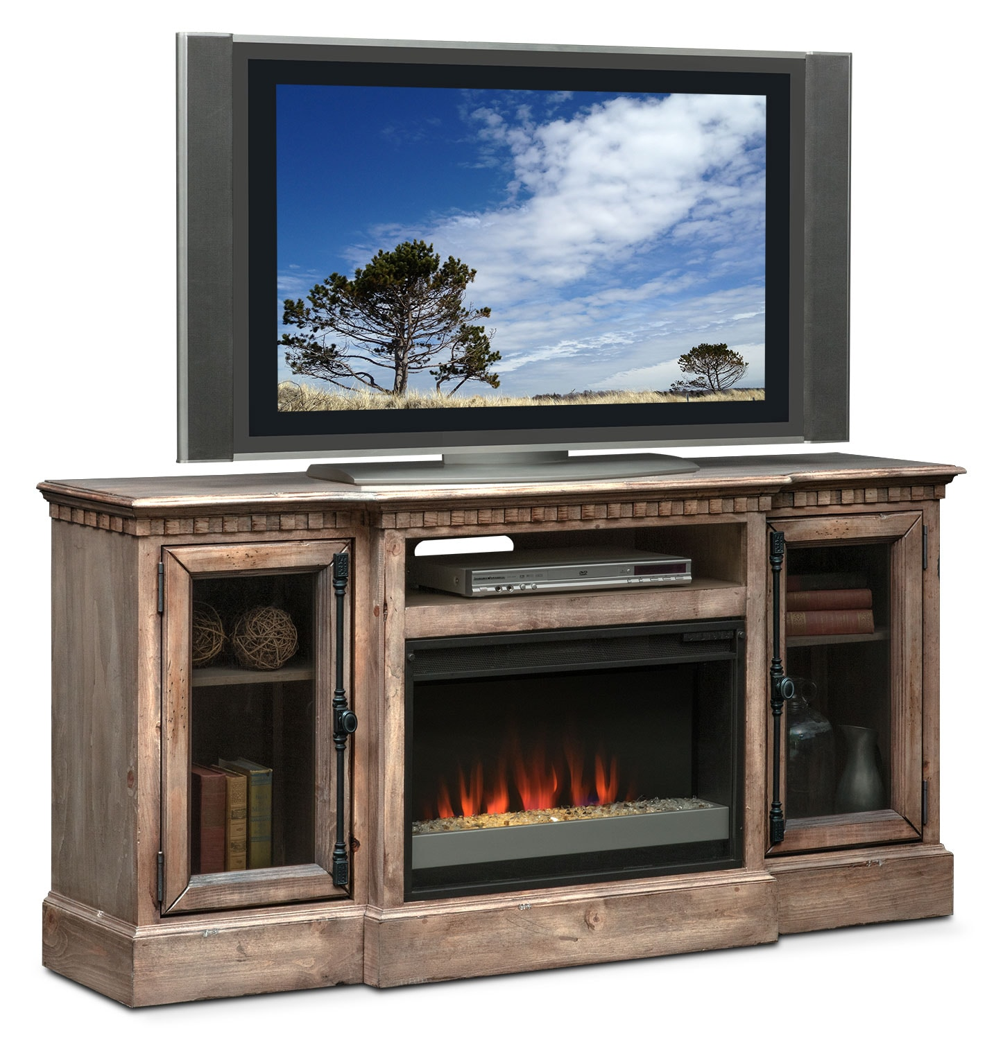 "Entertainment Furniture - Claridge 64"" Contemporary Fireplace Media Stand - Gray"