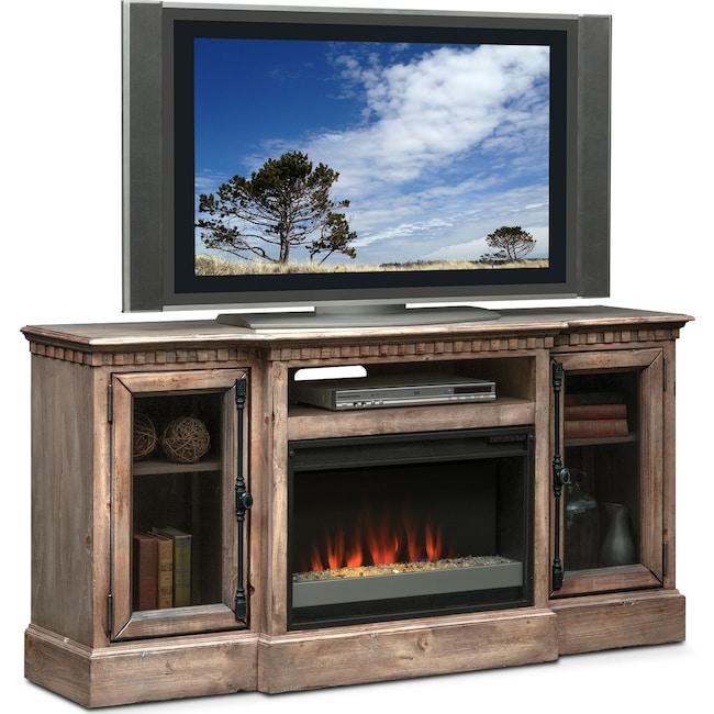 "Entertainment Furniture - Claridge 64"" Contemporary Fireplace Media Stand - Gray"