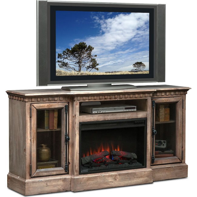 "Entertainment Furniture - Claridge 64"" Traditional Fireplace Media Stand - Gray"