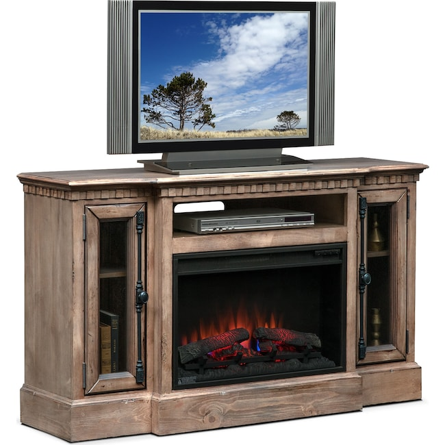 "Entertainment Furniture - Claridge 54"" Traditional Fireplace Media Stand - Gray"