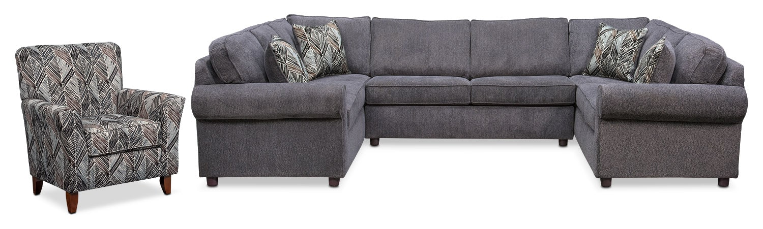Lakelyn 3-Piece Sectional and Accent Chair - Charcoal