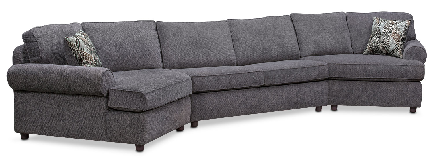 Lakelyn 3-Piece Sectional with 2 Cuddlers - Charcoal