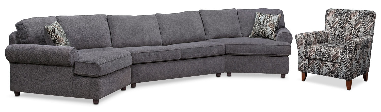 Living Room Furniture - Lakelyn 3-Piece Sectional with 2 Cuddlers and Accent Chair - Charcoal