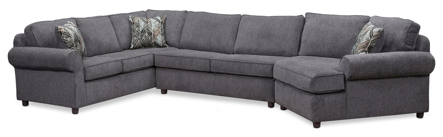 Lakelyn 3-Piece Sectional with Right-Facing Cuddler - Charcoal