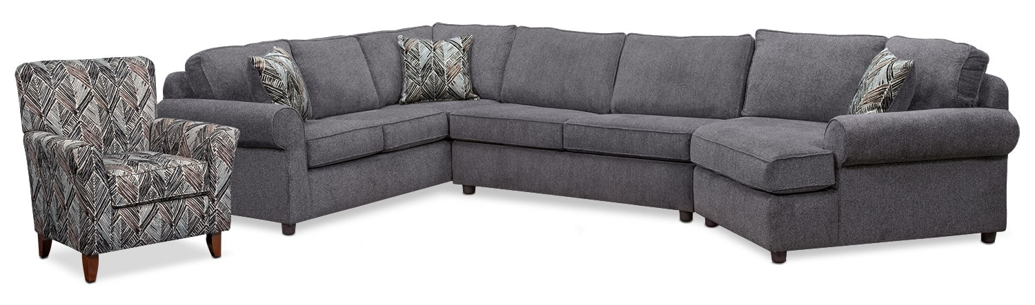 Lakelyn 3-Piece Sectional with Right-Facing Cuddler and Accent Chair - Charcoal