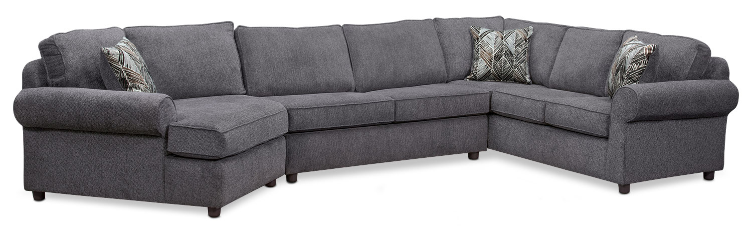 Living Room Furniture - Lakelyn 3-Piece Sectional with Left-Facing Cuddler - Charcoal