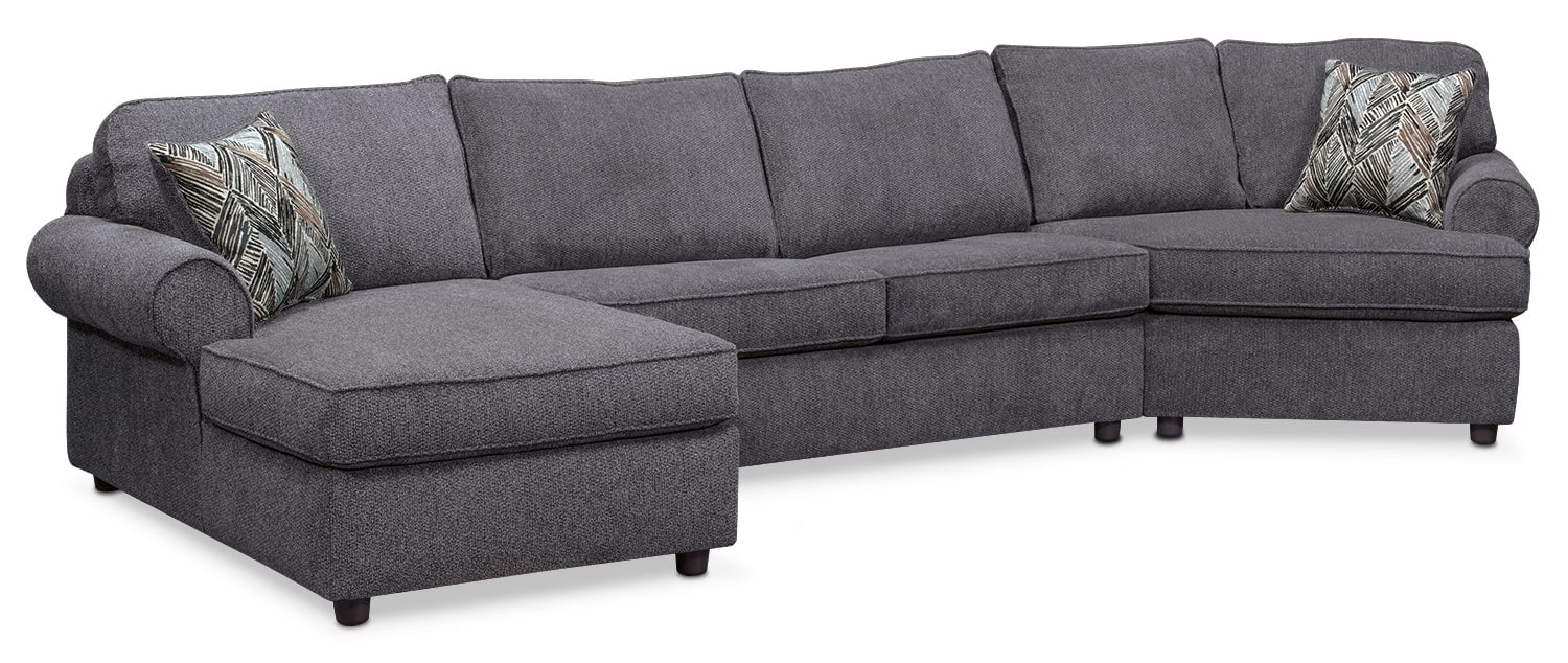 Lakelyn 3-Piece Sectional with Left-Facing Chaise and Right-Facing Cuddler - Charcoal