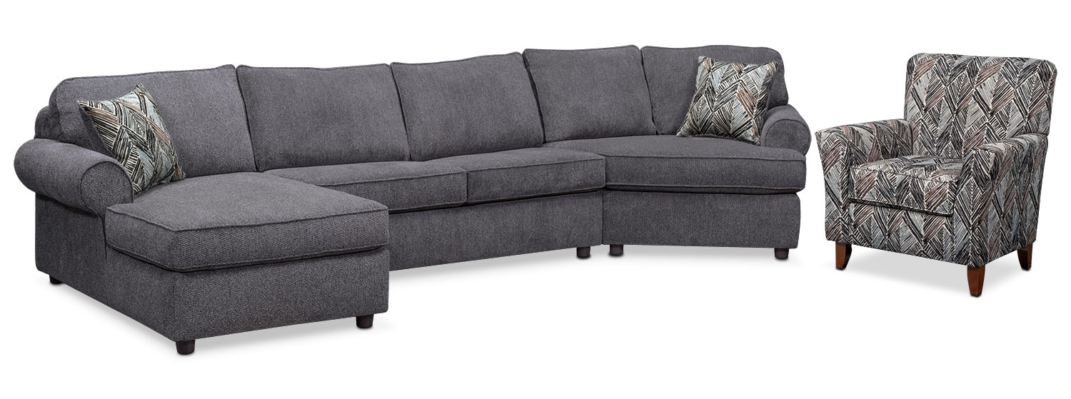 Lakelyn 3-Piece Sectional with Left-Facing Chaise, Right-Facing Cuddler and Accent Chair - Charcoal
