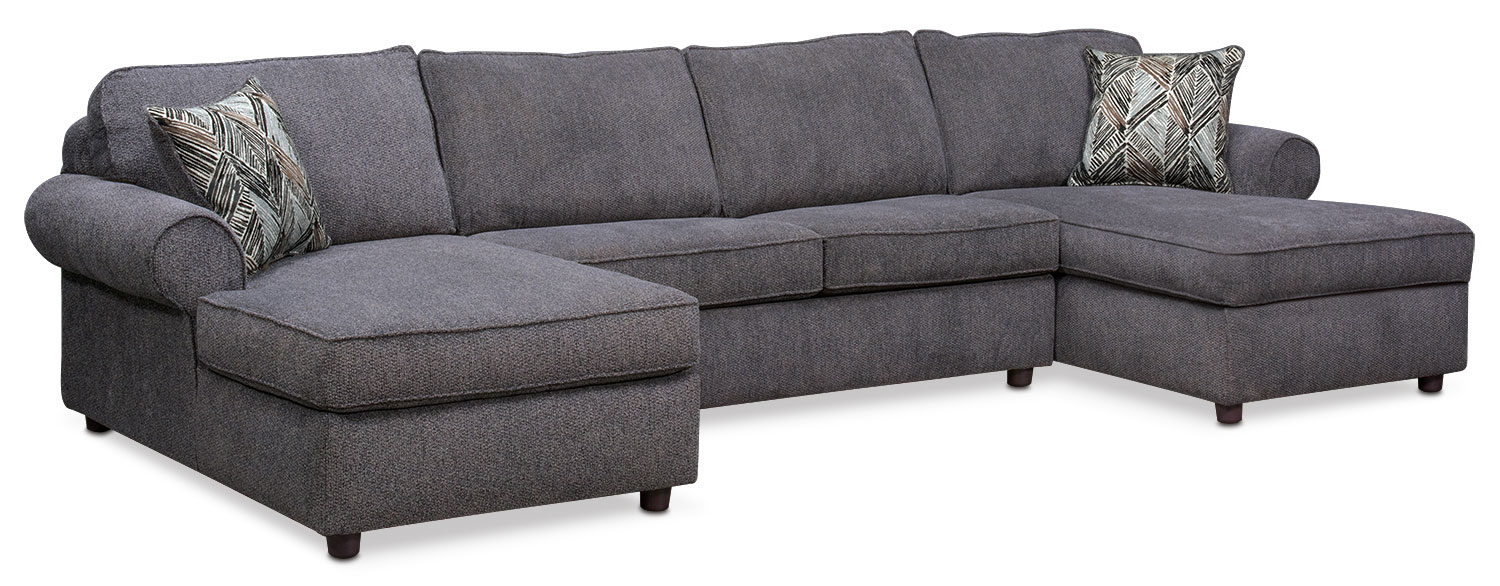 Living Room Furniture - Lakelyn 3-Piece Innerspring Sleeper Sectional with 2 Chaises - Charcoal