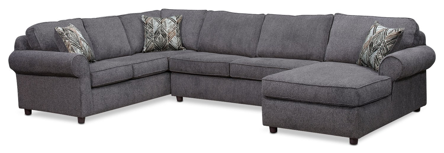 Living Room Furniture - Lakelyn 3-Piece Innerspring Sleeper Sectional with Right-Facing Chaise - Charcoal