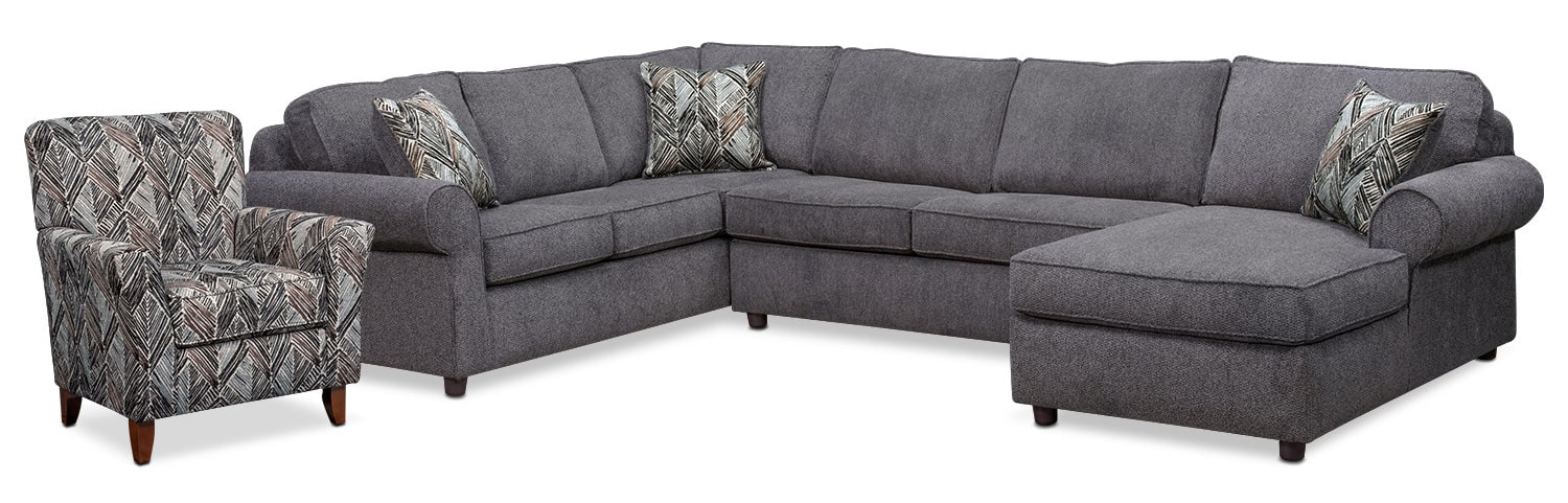 Lakelyn 3-Piece Sectional with Right-Facing Chaise and Accent Chair - Charcoal