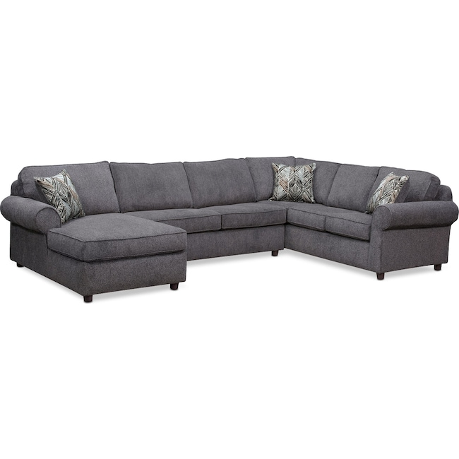 Living Room Furniture - Lakelyn 3-Piece Innerspring Sleeper Sectional with Left-Facing Chaise - Charcoal