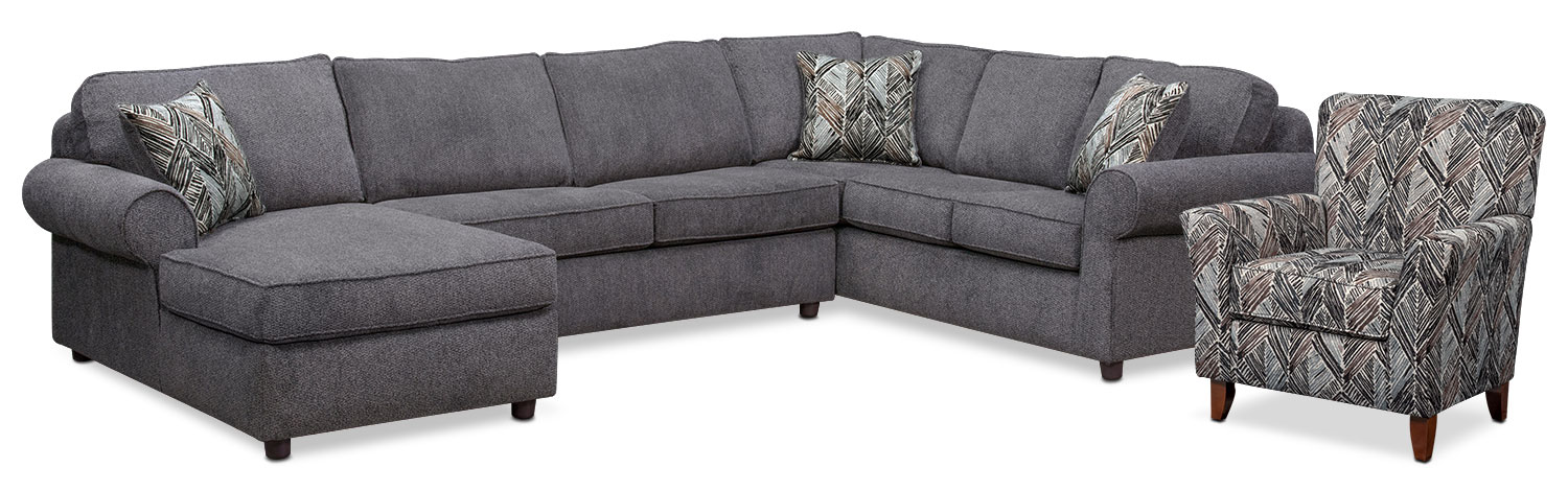 Living Room Furniture - Lakelyn 3-Piece Sectional with Left-Facing Chaise and Accent Chair - Charcoal